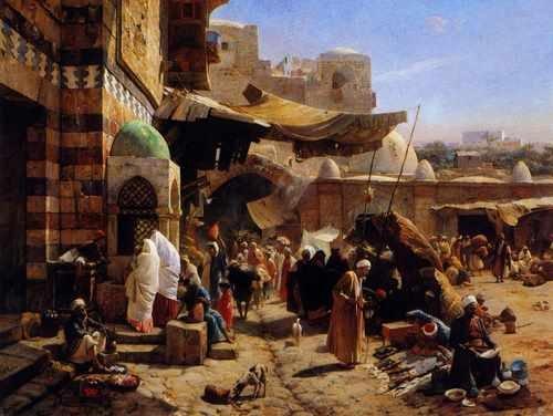 Gustav Bauernfeind Market At Jaffa A3 Box Canvas Print