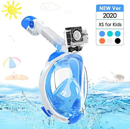 Splend Tauchmaske Vollgesichtsmaske, Faltbare Schnorchelmaske Vollmaske mit 180° Sichtfeld, Anti-Fog Anti-Leck Tauchen Vollmaske mit Abnehmbarer Kamerahalterung für Action-Kameras, Kinder