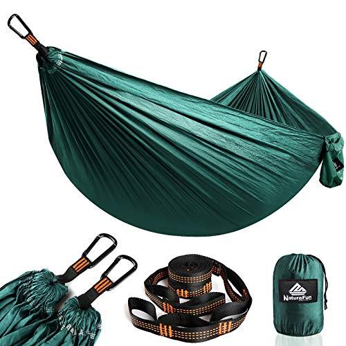 NATUREFUN Ultraleichte Reise Camping Hängematte | 300kg Tragkraft, (275 x 140 cm) Atmungsaktiv, Schnelltrocknendes Fallschirm Nylon | 2 x Premium Karabiner, 2 x Nylon-Schlingen Inbegriffen