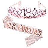 Dsaren 2 Piezas Cristal Cumpleaños Corona Tiara de Cumpleaños Banda para Mujer Niña Fiestas de Feliz Suministros Decoración Accesorios Regalo (18 años)