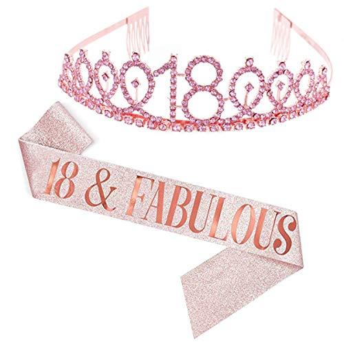 Dsaren 2 Pezzi Strass Corona Compleanno Tiara Fascia Birthday Cerchietto Corona di Cristallo per Adulto Donna Ragazza Feste di Compleanno Accessorio Decorazioni Regalo (18 anni)