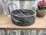 Lavabo de mármol negro de madera de 45 cm con fotos reales del lavabo de baño o fregadero de apoyo