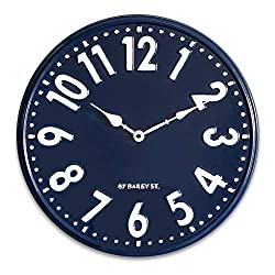 NIKKY HOME Nautical Navy Blue Wall Clock Silent Non Ticking - 16 Inch Quartz Battery Operated Vintage Metal Round Beach Clock Home Decor for Kitchen, Living Room, Bedroom, Office