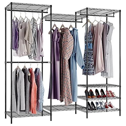 "VIPEK Portable Closet Wardrobe Heavy Duty Clothes Rack, Freestanding Clothing Rack with 4 Hang Rods & 8 Shelves, Adjustable Custom Closet Rack, 69.9"" L x 18"" W x 70.9"" H, Max Load 800LBS, V5 Black"