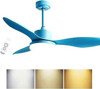 ACHNC Moderno Ventilador De Techo Con Iluminación LED 3-Colores, Silenciosa Ventilador De Techo Con Luz Y Mando A Distancia Salon Infantil Dormitorio Restaurante Lampara De Ventilador De Techo,Azul