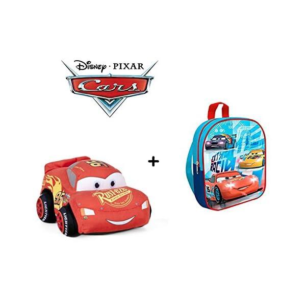 51qDYGmJ+eL. SS600  - Cars - Peluche coche rojo Rayo McQueen 24cm Calidad super soft + Mochila guardería 24 cm