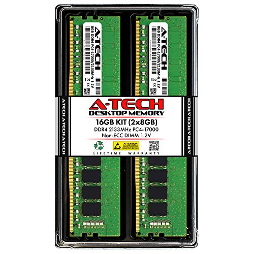 A-Tech 16GB (2x8GB) DDR4 2133MHz DIMM PC4-17000 UDIMM Non-ECC 1.2V CL15 288-Pin Desktop Computer RAM Memory Upgrade Kit