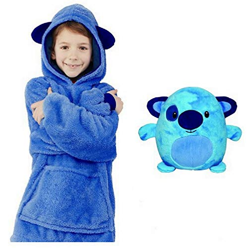 Pijamas cálidos caseros con Capucha, Animales de Peluche con Bolsillos extragrandes Pijamas con Sombrero súper Dalian, Talla única para Todos (Azul)
