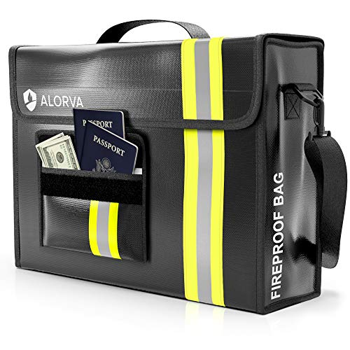 """ALORVA Fireproof and Waterproof Document Bag - 17 x 12 x 5"""" with Wallet Protector - Reflective to..."""