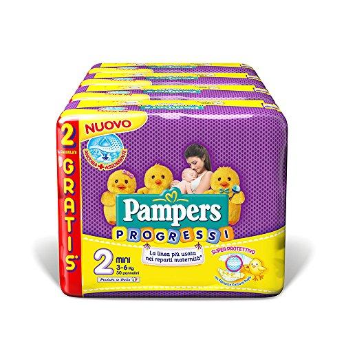 Pampers Progressi Mini, Windeln Größe 2(3–6KG), 4er Pack (4 x 30 Stück)