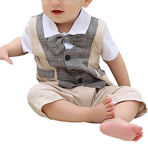 Minetom Baby Boy Tuta del Papillon Bowknot Gentleman Pagliaccetto One Piece Suit Adatta per La Festa Nuziale (Grigio 87-92 (18-24 Months))