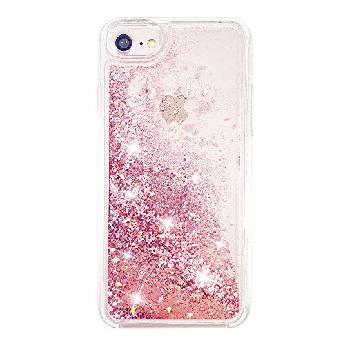 """uCOLOR Rose Pink Glitter Case for iPhone SE (2020) iPhone 8/7 iPhone 6S/6 Case for Girls(4.7"""") Sparkle Quicksand Liquid Waterfall Clear Protective Case for iPhone8/7/6S/6/SE 2nd"""