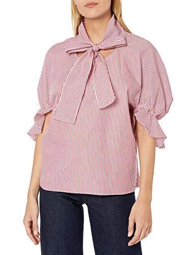 Armani Exchange AX Damen Tie Neck Blouse with Ruffled Cuff Half Sleeves Hemd, Rossana/weiße Streifen, X-Klein