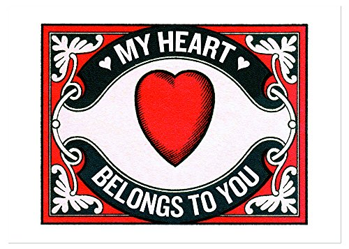 Heart Matchbox Label Anniversary Greeting Card