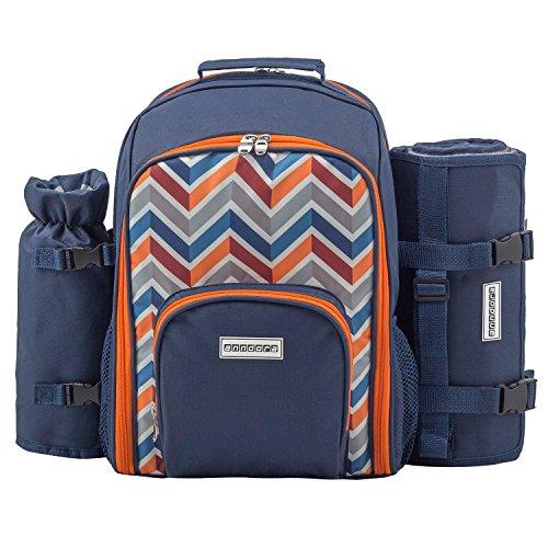 anndora Picknickrucksack Rucksack + 11 TLG. Zubehör f. 2 Personen + Picknickdecke - blau