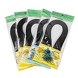 no-branded Tiras de Quilling de 600 tiras de color puro de 3 x 39 cm, tiras de papel para hacer filigranas, juego de papel para manualidades, origami (negro))