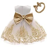 Christening Embroidery Lace Birthday Christmas Easter Flower Baby Girl Dress Princess Formal Prom Tutu Ball Gown 3M White Gold 60