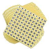 SUNSHINETEK 60 hojas de calcomanías con números de 1 a 100 calcomanías adhesivas etiquetas de números redondos calcomanía para organizar el inventario (6000 etiquetas de números)