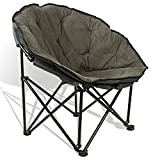 Extra Comfort Folding Moon Chair Saucer with Suede Pad for Any Living Room, Dorm or Apartment Space (Grey)