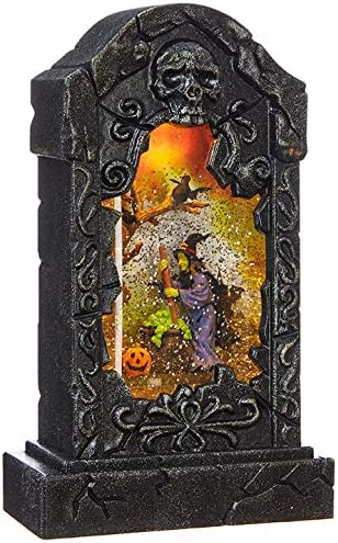 RAZ Imports 10 5 Witch Tombstone Lighted Water Lantern Halloween Swirling Glitter Snow Globe product image