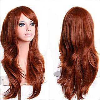 TopWigy Red Long Curly Hair Wig Heat Resistant Big Wave Party Costume Cosplay Wigs with Wig Cap for Women (Red Brown 28