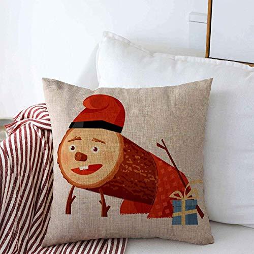 Fundas de almohada Throw Pillows Cover 18 x 18 Inches TIO De Nadal Hat Christmas Log Holidays Vintage December...