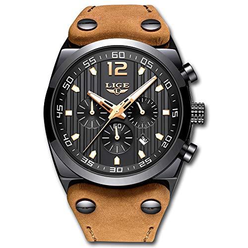 LIGE Relojes para Hombres Impermeable Militar Cronógrafo Análogo Cuarzo Dial Grande Marrón Correa de Cuero Reloj Negro