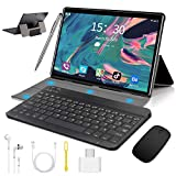 10 inch Tablet with Keyboard Case, Android 9.0 Pie Tablet, 4GB RAM 64GB ROM/128GB Expand, Dual 4G SIM/WiFi Cellular, Quad Core, 8000mAh, 13MP Camera, AM/FM, WiFi, Bluetooth, GPS, OTG(Black)