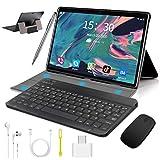 10 inch Tablet with Keyboard Case, Android 9.0 Pie Tablet, 4GB RAM 64GB ROM/128GB Expand, Dual 4G SIM/WiFi Cellular, Quad Core, 8000mAh, 13MP Camera, AM/FM, WiFi, Bluetooth, GPS, OTG(Black)