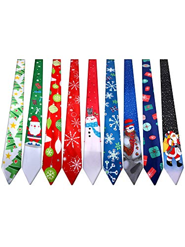 9 Pieces Christmas Necktie Decorative Christmas Tie Men and Boys Christmas Theme Ties for Christmas Party Costume, 9 Styles (Style Set 2)