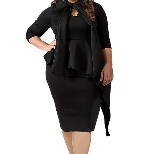 ba111a44f5d45 Lalagen Women s Plus Size Long Sleeve Peplum Tie Neck Bodycon Pencil Midi  Dress