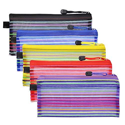 Meetory - 15 bolsas de malla con cremallera, multiusos, bolsa organizadora para cosméticos de viaje, para coleccionar suministros de oficina y maquillaje (5 colores)
