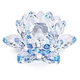 Sumnacon - Fiore di loto in cristallo, dia100 mm, per la decorazione della casa, ideale regalo per compleanno, feste, colore: blu