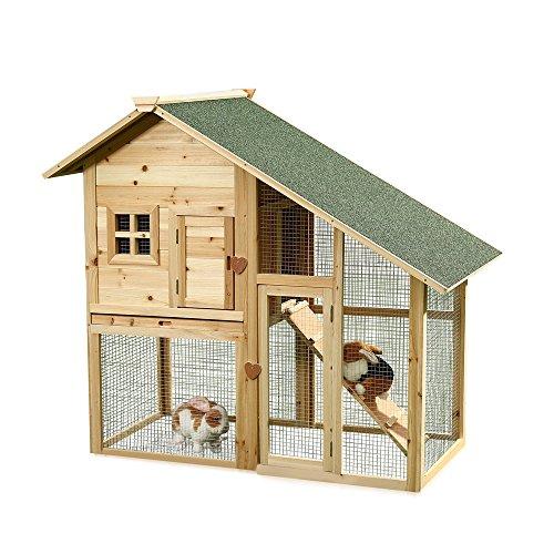 Melko Hasenstall mit Auslauf – geeignet für 2 – 3 Hasen, Meerschweinchen oder andere Kleintiere, aus Holz, wetterfest, für drinnen und draußen, einfache Reinigung