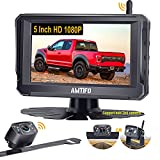Backup Camera Wireless for Car HD 1080P Truck Bluetooth Backup Camera 5 Inch Split/Full Monitor Rear View System with Digital Signal,Support Add 2nd Licence Plate Backup Camera/RV Camera - AMTIFO A6