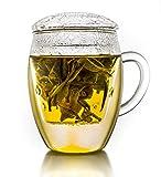 Creano Tè Vetro 'All-In-One' - Grande Tazza da Tè con Filtro in vetro e coperchio in Vetro | 400ml