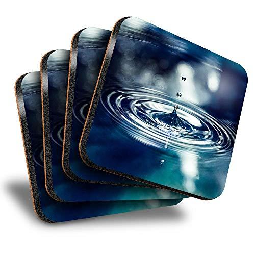 Destination Vinyl ltd Great Posavasos cuadrados (juego de 4) – Gota de agua Nature Calm Zen Yoga Drink brillante posavasos / protección de mesa para cualquier tipo de mesa #16965
