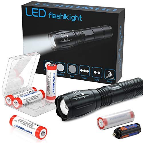 Torcia portatile Super Bright LED Tactical Flashlight lampada zoomabile – con 4 batterie ricaricabili 18650 da 3,7 V batteria a bottone per ciclismo, escursionismo, campeggio, emergenza (rosso)