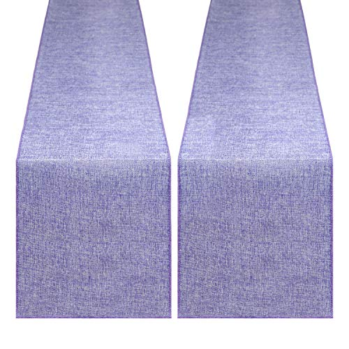 B-COOL Spring Burlap Table Runner 2Pcs Burlap Rolls 13x108inch Lilac Table Cover New Year Banquet Table Linens Farmhouse Burlap Fabric Wedding Decoration