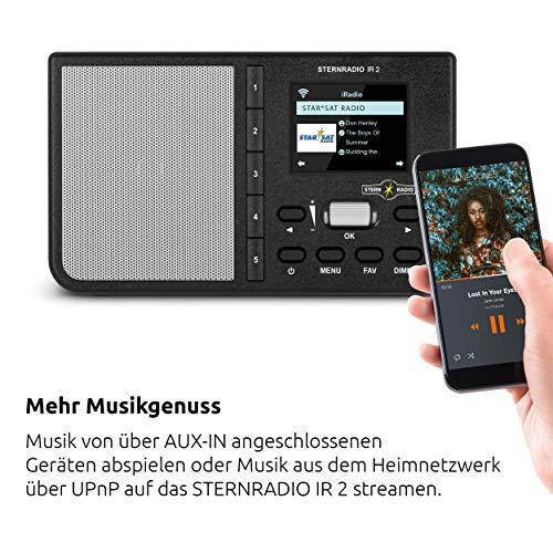 TechniSat STERNRADIO IR 2 - kompaktes Internetradio (WLAN, wechselbarer Akku, Farbdisplay, änderbare Direktwahltasten, Schlafradio-Sender, Wecker, Sleeptimer, Snooze, AUX, App-Steuerung) schwarz