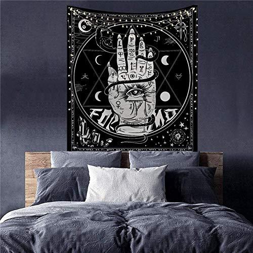 KHKJ Mandala Blanco Negro Sol y Luna Tapiz Colgante de Pared tapices de chismes alfombras de Pared Hippie decoración Manta Tapiz A12 95x73cm