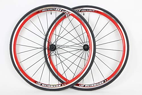 700c Road Wheels Red Weinmann DP18 700 x 25c with Tires and Tubes