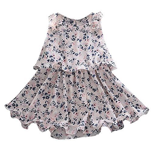 Fenverk MäDchen Baumwolle Streifen Tiere T-Shirt Kleid Cartoon Blumen Baby Sommerkleidung Infant Outfit äRmellose Prinzessin Gallus Kleinkind Swing(Weiß,18-24 Monate)