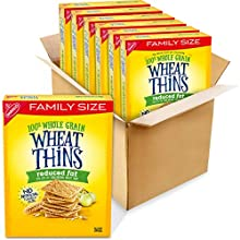 Wheat Thins Whole Grain Crackers Family Size, Reduced Fat, 12.5 Oz Boxes 6, 6 Count