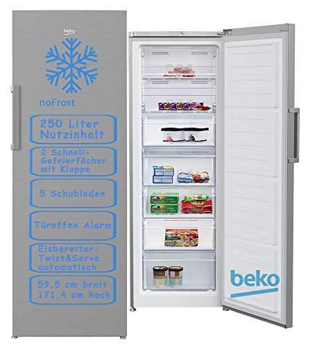 Congeladora Beko RFNE290L31XBN No Frost, 250 L, A+, Look Inox