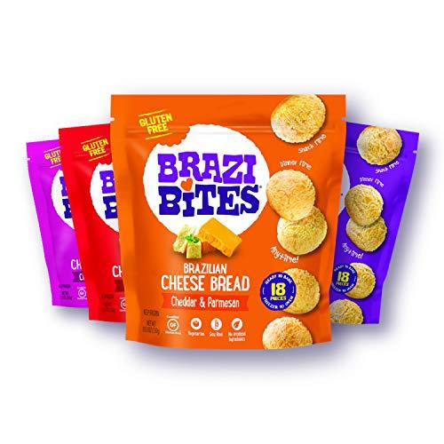 Brazi Bites Gluten-Free Brazilian Cheese Bread: Variety-Pack|VegetarianFrozen Bread Snacks|Soy-Free |No Artificial Ingredients|No Preservatives| 11.5 oz. pouches (4-pack)