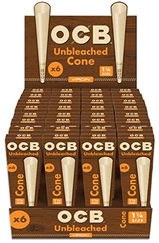 32 x OCB Virgin Unbleached Cone 1 1/4 Size 6 Pack (192 Cones Total)