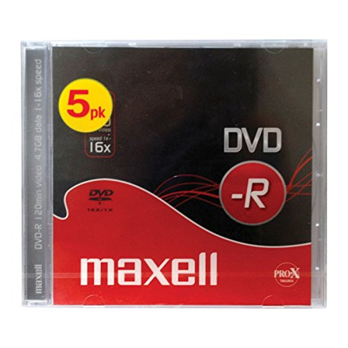 Maxell DVD-R Rohlinge (16x Speed, 4,7GB, 5-er Pack) mit Jewel Case