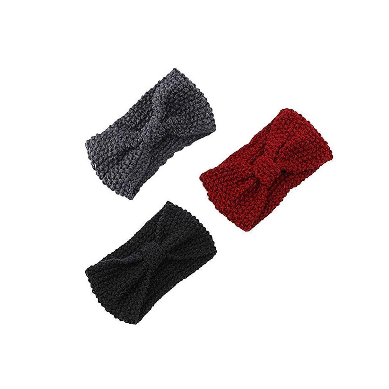 iLXHD 3pcs HairBand Women Knitting Headband Elastic Handmade Sport Turban Head Wraps Headwear Bow Twisted Design