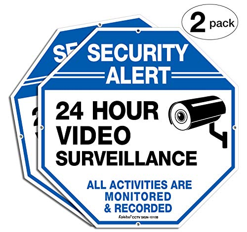 2-Pack Video Surveillance Signs, 10 x 10 Rust Free .040 Aluminum Security Warning Reflective Metal Signs, Indoor or Outdoor Use for Home Business CCTV Security Camera, UV Protected & Waterproof